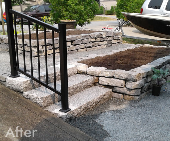 After stonework sidewalk & steps